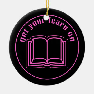 Get Your Learn On School Book Double-Sided Ceramic Round Christmas Ornament