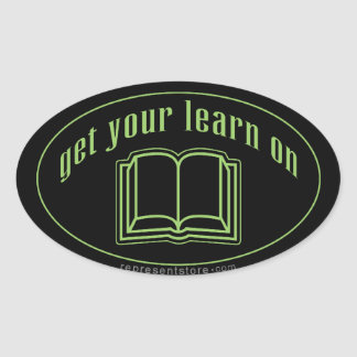 Get Your Learn On School Book Oval Sticker