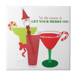 Get Your Merry On Christmas Cocktails Tile