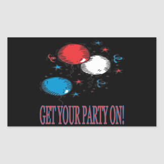 Get Your Party On Rectangular Sticker