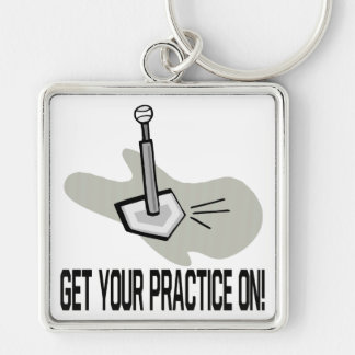 Get Your Practice On Silver-Colored Square Keychain