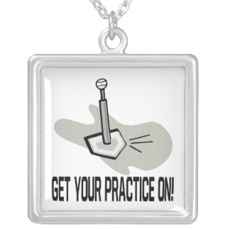 Get Your Practice On Square Pendant Necklace