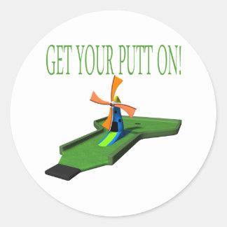 Get Your Putt On Round Stickers