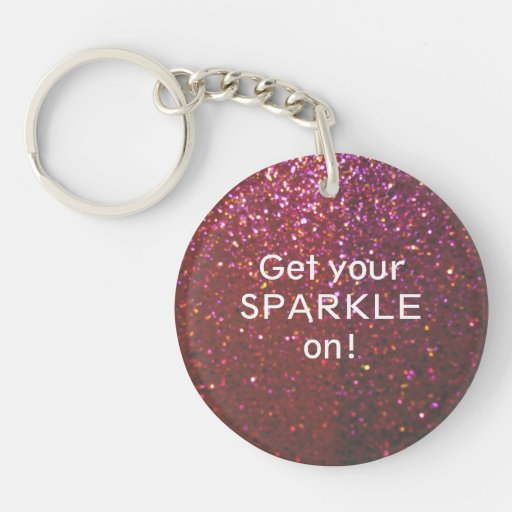 Get your Sparkle on - Girly Hot pink faux Glitter Keychain