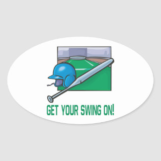 Get Your Swing On Oval Sticker