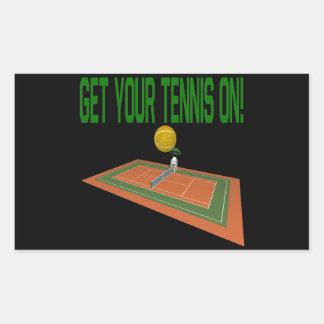 Get Your Tennis On Rectangular Sticker