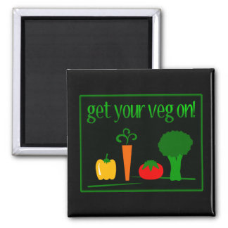 Get Your Veg On! With Assorted Veggies 2 Inch Square Magnet