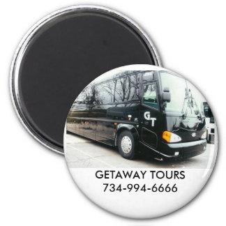 , GETAWAY TOURS 2 INCH ROUND MAGNET