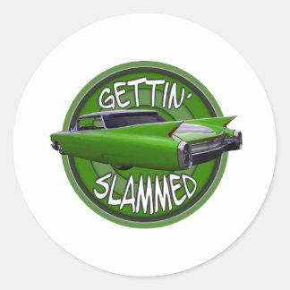 gettin slammed1960 Cadillac key lime Classic Round Sticker