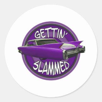 gettin slammed 1960 Cadillac Grape Classic Round Sticker