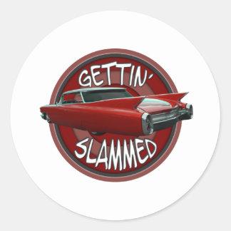 gettin slammed 1960 Cadillac Rollin red lowrider Classic Round Sticker