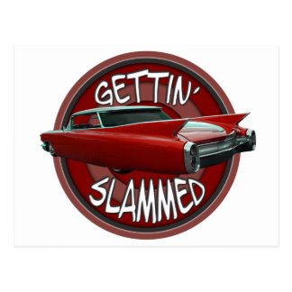 gettin slammed 1960 Cadillac Rollin red lowrider Postcards