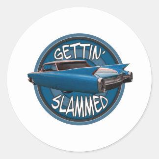 gettin slammed 1960 Cadillac sky blue Classic Round Sticker