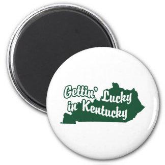 Getting afortunado en Kentucky Imán Redondo 5 Cm