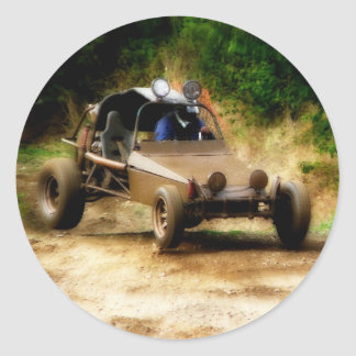 Getting Air in a Dune Buggy Classic Round Sticker