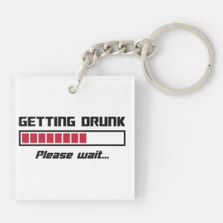 Getting Drunk Please Wait Loading Bar Square Acrylic Key Chain