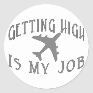 Getting High Airline Pilot Classic Round Sticker