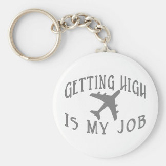 Getting High Airline Pilot Basic Round Button Keychain