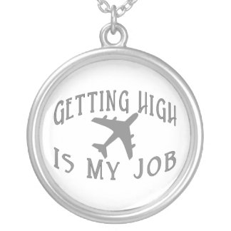 Getting High Airline Pilot Silver Plated Necklace