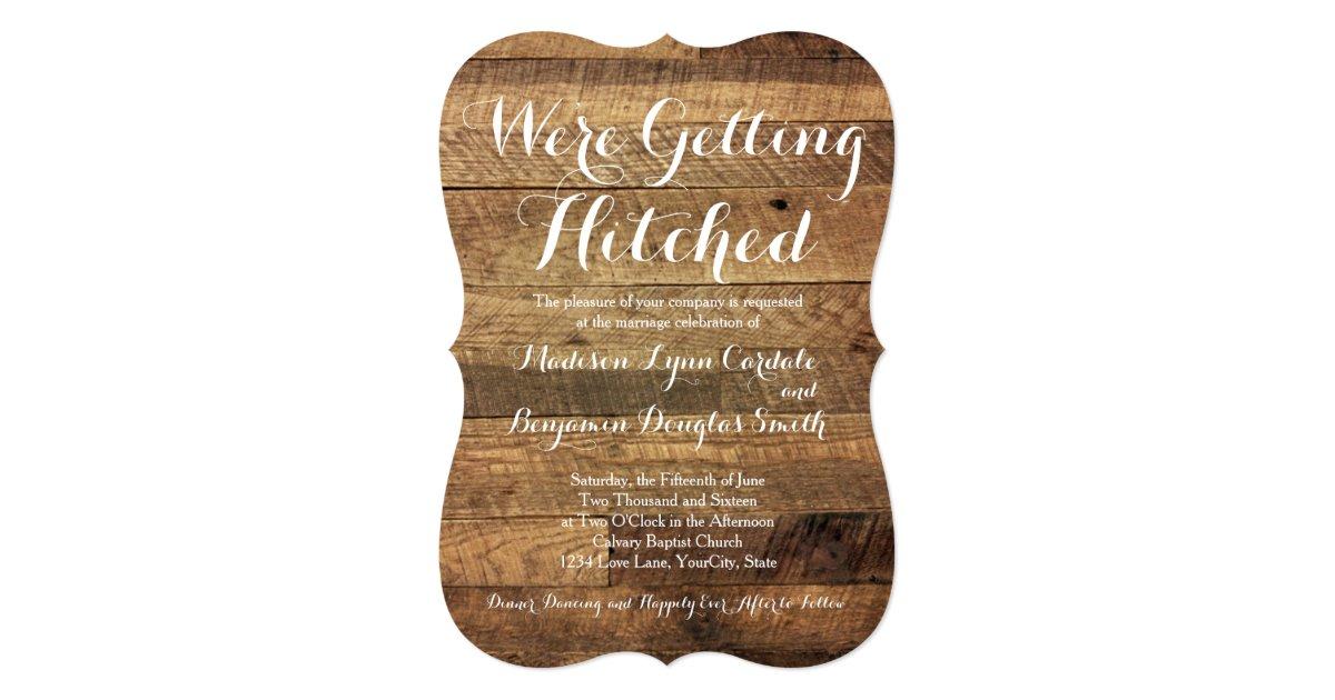 getting hitched barn wood wedding invitations zazzlecom - Wooden Wedding Invitations