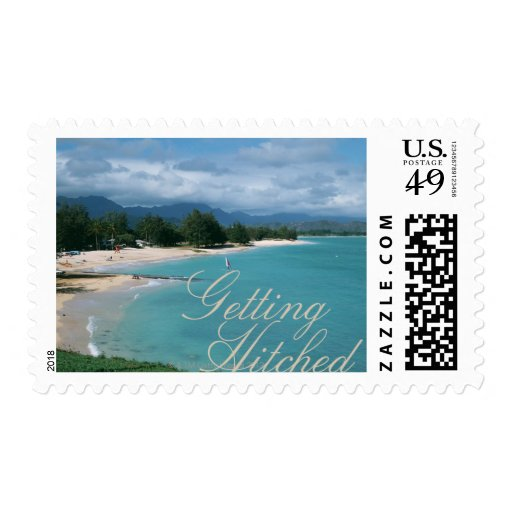 Getting Hitched Beach Wedding Stamps