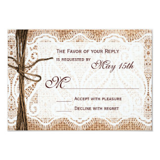 Getting Hitched Burlap Print Wedding RSVP Cards