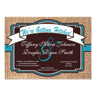 Getting Hitched Burlap Teal Wedding Invitations