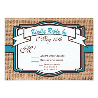 Getting Hitched Burlap Teal Wedding RSVP Cards