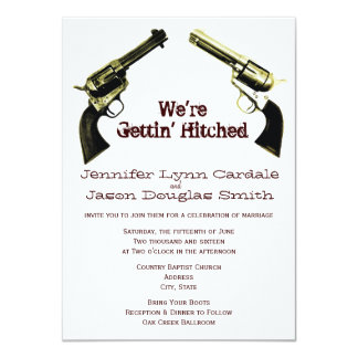 Getting Hitched Cowboy Guns Wedding Invitations