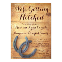 Getting Hitched Double Horseshoe Wedding Invites