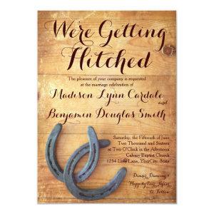 Getting Hitched Double Horseshoe Wedding Invites Custom Invitation
