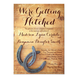 "Getting Hitched Double Horseshoe Wedding Invites 4.5"" X 6.25"" Invitation Card"