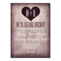 Getting Hitched Heart Rustic Wedding Invitations