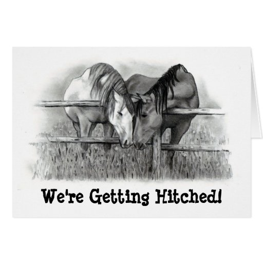 GETTING HITCHED: HORSE PENCIL ART: INVITATION GREETING CARD