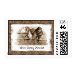 Getting Hitched: Horses, Western: Sepia Drawing Postage Stamps