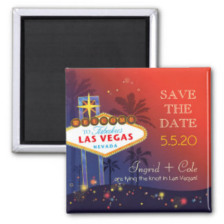 Getting Hitched in Las Vegas Fun Save the Date 2 Inch Square Magnet