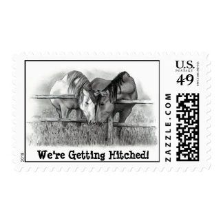 GETTING HITCHED, MARRIED: HORSE PENCIL ART: STAMP