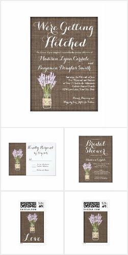 Getting Hitched Mason Jar Burlap Print Wedding Set