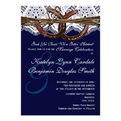 Getting Hitched Navy Horseshoe Wedding Invitations