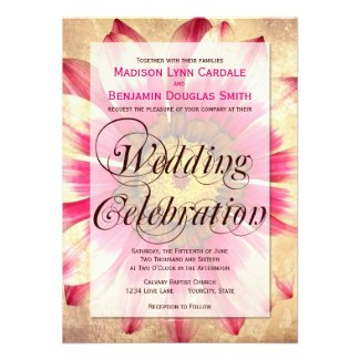 Getting Hitched Pink Daisy Wedding Invitations