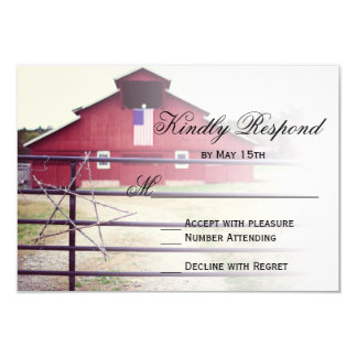 Getting Hitched Red Barn Wedding RSVP Cards