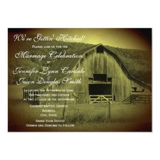Getting Hitched Rustic Barn Wedding Invitations