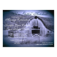 Getting Hitched Rustic Barn Wedding Invites Blue