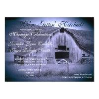 Getting Hitched Rustic Barn Wedding Invites Blue (<em>$2.38</em>)
