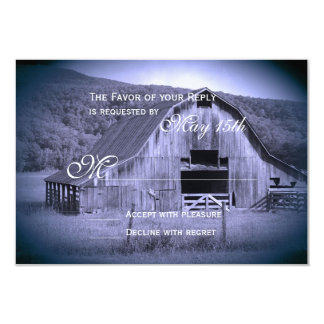 Getting Hitched Rustic Barn Wedding RSVP Card Blue