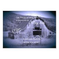 Getting Hitched Rustic Barn Wedding RSVP Card Blue (<em>$2.17</em>)
