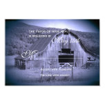 Getting Hitched Rustic Barn Wedding RSVP Card Blue Invitations