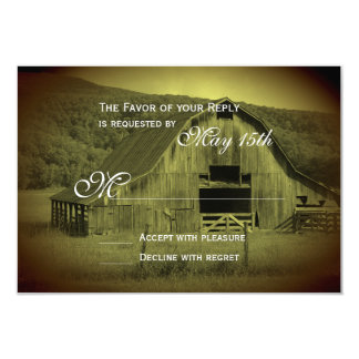 Getting Hitched Rustic Barn Wedding RSVP Cards
