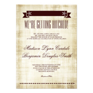Getting Hitched Rustic Country Wedding Invitations Personalized Invitations