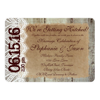 """Getting Hitched Rustic Country Wedding Invitations 5"""" X 7"""" Invitation Card"""
